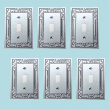 <PRE>6 Switch Plates Chrome-plated Brass Victorian Style Set of 6 </PRE>zoom2