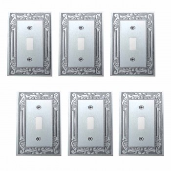 6 Switch Plates Chrome-plated Brass Victorian Style Set of 6