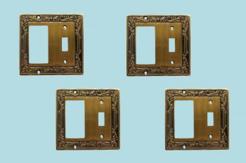 <PRE>4 Victorian Switch Plate Toggle GFI Antique Solid Brass </PRE>zoom2