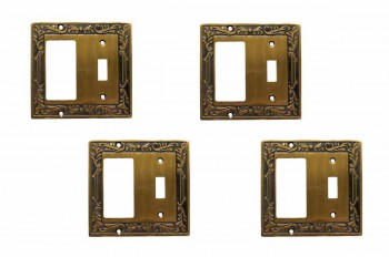 <PRE>4 Victorian Switch Plate Toggle GFI Antique Solid Brass </PRE>zoom1