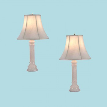 <PRE>2 Table Lamp White Alabaster Pillar Beige Shade 22inchH </PRE>zoom2