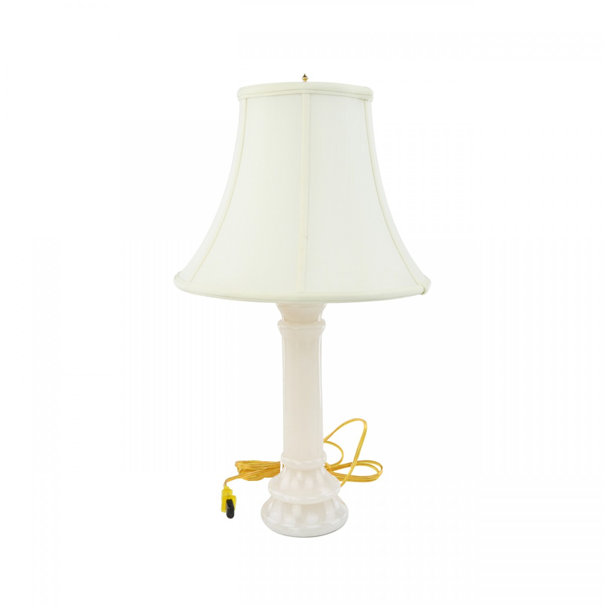 2 Table Lamp White Alabaster Pillar Beige Shade 22H Lamp Table Lights Lamps
