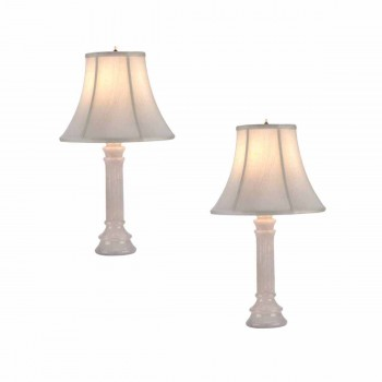<PRE>2 Table Lamp White Alabaster Pillar Beige Shade 22inchH </PRE>zoom1