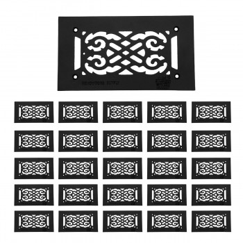 25 Heat Air Grille Cast Victorian 5.5 x 10 Overall Heat Register Floor Register Wall Registers