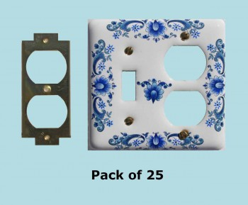 25 Vintage Switch Plate White Delft Porcelain ToggleOutlet Switch Plate Wall Plates Switch Plates