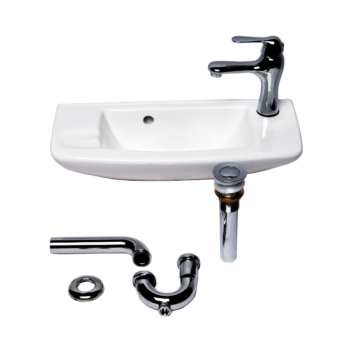 Small Wall Mount White Vessel Sink with Chrome Drain Faucet Overflow Set of 2 Alfi  AB103 Combo Alternative Whitehaus WH1102R Combo  Alternative FineFixtures  WH2010W Combo Alternative