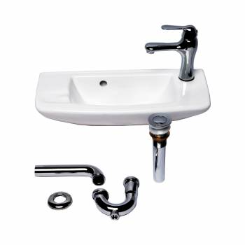 <PRE>Small Wall Mount White Vessel Sink with Chrome Drain Faucet Overflow Set of 2</PRE>zoom3