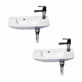 <PRE>Small Wall Mount White Vessel Sink with Chrome Drain Faucet Overflow Set of 2</PRE>