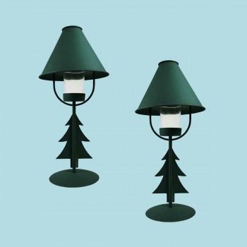 <PRE>2 Christmas Tree Table Lamp Antique Green Metal </PRE>zoom2