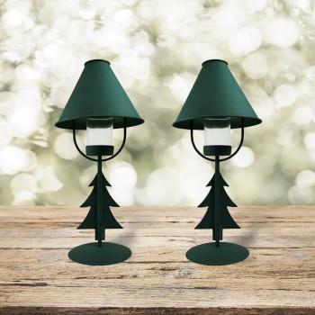 <PRE>2 Christmas Tree Table Lamp Antique Green Metal </PRE>zoom1