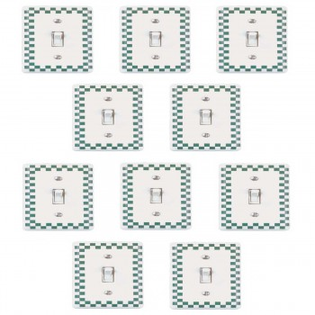 <PRE>10 Checked White/Green Ceramic Single Toggle Switchplate</PRE>