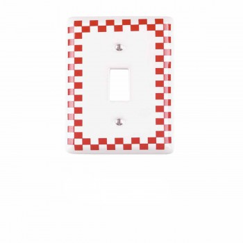 <PRE>25 Switch Plate Red Porcelain Checkered Single Toggle </PRE>zoom1