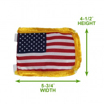 spec-<PRE>US Flag Cotton Gold Fringe 4 1/2&quot;H </PRE>