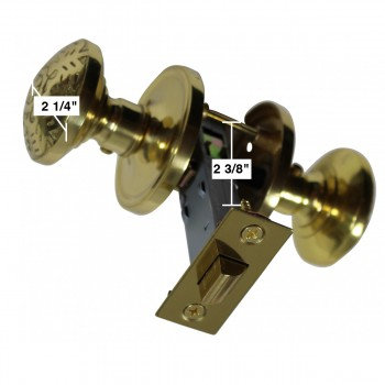 spec-<PRE>Passage Door Knob Set Solid Brass  2 3/8&quot; </PRE>