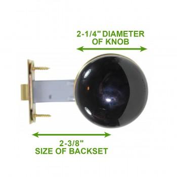 """spec-<PRE>Passage Door Knob Set Black Porcelain 2 3/8"""" </PRE>"""
