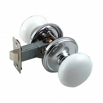 White Porcelain w/Chrome 2 3/8 inch Door Knob Passage Set