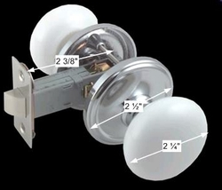 spec-White Porcelain w/Chrome 2 3/8 inch Door Knob Passage Set