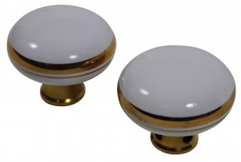 <PRE>Passage Door Knob Set White / Gold Porcelain 2 3/8inch </PRE>zoom3
