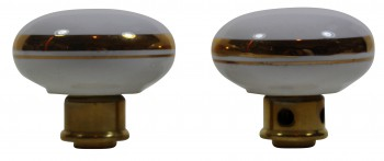 <PRE>Passage Door Knob Set White / Gold Porcelain 2 3/8inch </PRE>zoom5