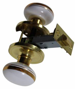 <PRE>Passage Door Knob Set White / Gold Porcelain 2 3/8inch </PRE>zoom1