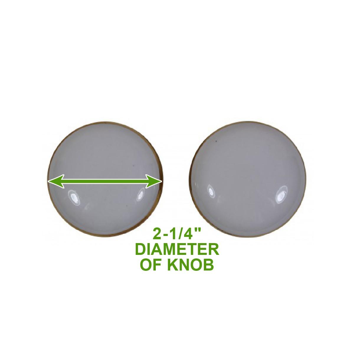 """<PRE>Passage Door Knob Set White / Gold Porcelain 2 3/8"""" </PRE>"""