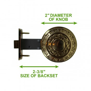 spec-<PRE>Bright Solid Brass 2 3/8 inch Door Knob Passage Set</PRE>