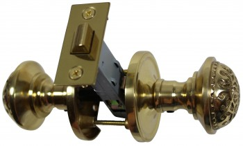 <PRE>2 Passage Door Sets Heavy Brass Backset Knobs Complete Sets </PRE>zoom3