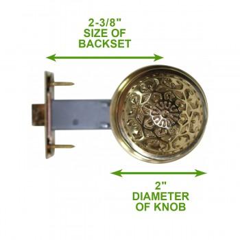 spec-<PRE>2 Passage Door Sets Heavy Brass Backset Knobs Complete Sets </PRE>