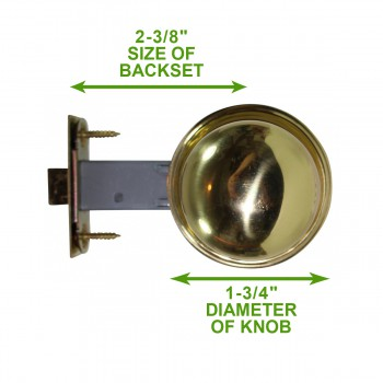 spec-<PRE>Bright Solid Brass Colonial 2 3/8 inch Door Knob Passage Set</PRE>