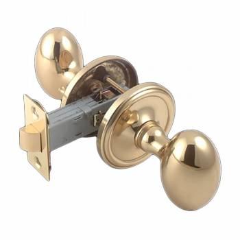 Passage Door Knob Set Solid Brass Egg 2 3/8