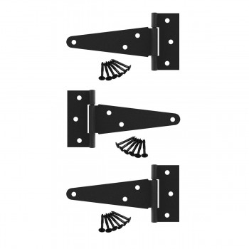 T Strap Door Hinge Black RSF Cast Iron 5 Pack of 3