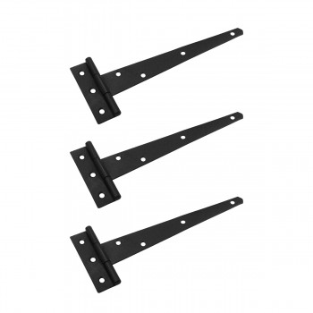 <PRE>T Strap Door Hinge Black Iron RSF Finish Light Duty 9inch Pack of 3</PRE>zoom1
