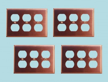 4 Switchplate Brushed Solid Copper Triple Outlet Switch Plate Wall Plates Switch Plates