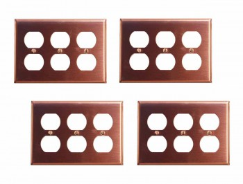 <PRE>4 Switchplate Brushed Solid Copper Triple Outlet </PRE>zoom1