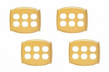 4 Switchplate Bright Solid Brass Triple Outlet Switch Plate Wall Plates Switch Plates