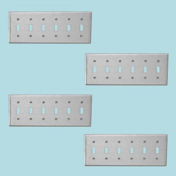<PRE>4 Switchplate Brushed Stainless Steel Six Toggle </PRE>zoom2