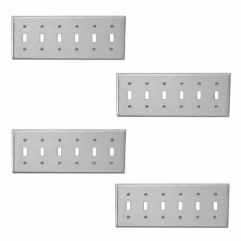 4 Switchplate Brushed Stainless Steel Six Toggle Switch Plate Wall Plates Switch Plates