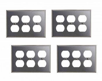 4 Switchplate Brushed Stainless Steel Triple Outlet Switch Plate Wall Plates Switch Plates