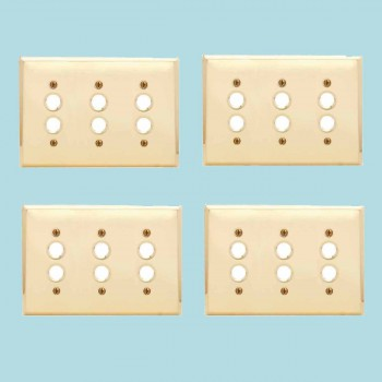 <PRE>4 Switchplate Bright Solid Brass Triple Pushbutton </PRE>zoom2
