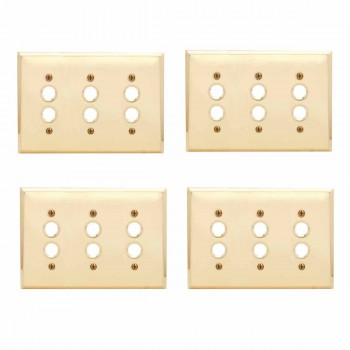 <PRE>4 Switchplate Bright Solid Brass Triple Pushbutton </PRE>zoom1