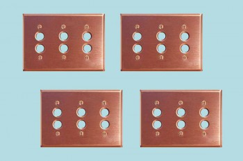 4 Switchplate Brushed Solid Copper Triple Pushbutton Switch Plate Wall Plates Switch Plates