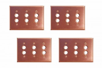 <PRE>4 Switchplate Brushed Solid Copper Triple Pushbutton </PRE>zoom1