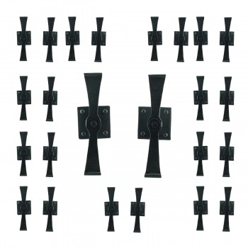 Pair Shutter Dog Black Wrought Iron Propelier Wood Pack of 12