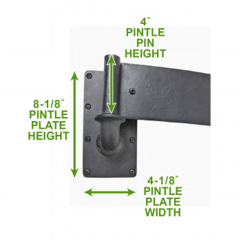 "spec-<PRE>10 Bean Pintle Strap Door Hinge Wrought Iron 28"" </PRE>"