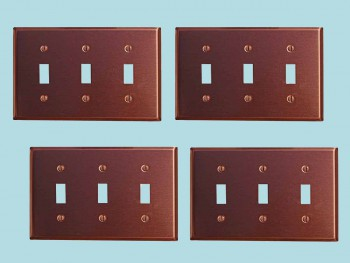 <PRE>4 Switchplate Brushed Solid Copper Triple Toggle </PRE>zoom2