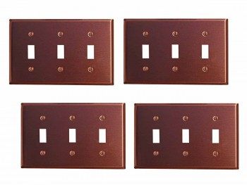 4 Switchplate Brushed Solid Copper Triple Toggle Switch Plate Wall Plates Switch Plates