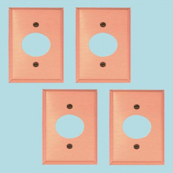 <PRE>4 Switchplate Brushed Solid Copper Single Receptacle </PRE>zoom2