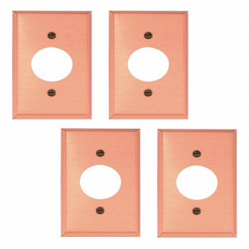 4 Switchplate Brushed Solid Copper Single Receptacle Switch Plate Wall Plates Switch Plates