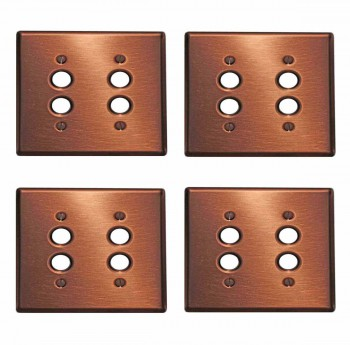 <PRE>4 Switchplate Brushed Solid Copper Double Pushbutton </PRE>zoom1