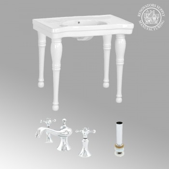 White Belle Bathroom Console Sink Combo Set with Faucet White Modern Classy Fancy Elegant Deluxe Luxury Gloss Glossy Porcelain Ceramic Vitreous Basin Bathroom Console Sink with Overflow